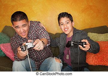 niño, hispano, juego, vídeo, juego, hombre