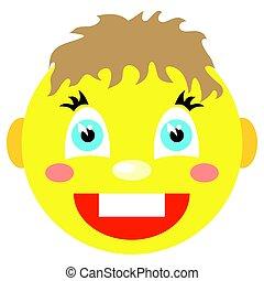 niño, iconos, smiley, fondo., laughs., blanco
