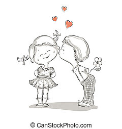 niño, ilustración, mano, besar, dibujado, niña
