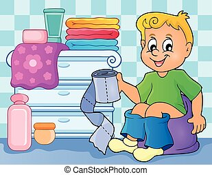 niño, imagen, 2, tema, potty
