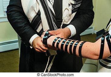 niño, impida mitzvah, judío, torah, lectura de mano