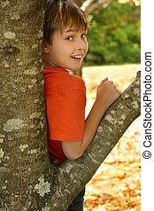 niño, inclinar, un, árbol