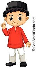 niño, indonesio, camisa, rojo