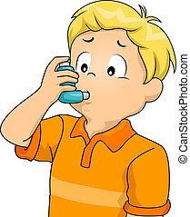 niño, inhalador, niño
