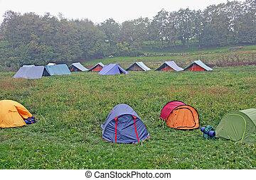niño, invierno, tiendas, camping, exploradores, frío, día