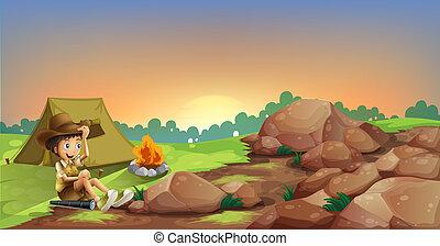 niño, joven, campamento, rocas