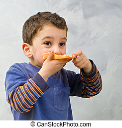 niño joven, comer pizza