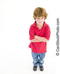 niño joven, con, armamentos cruzaron, enojado