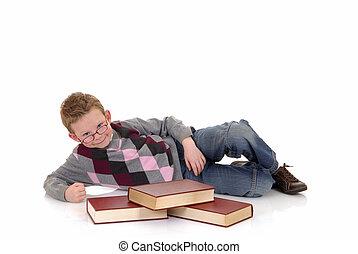 niño joven, con, enciclopedia