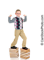 niño joven, en, libro