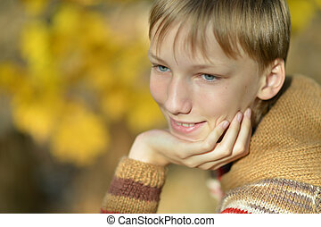 niño joven, en, otoño, parque