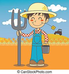 niño, joven, granjero