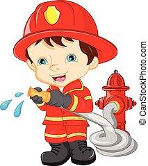 niño joven, llevando, bombero