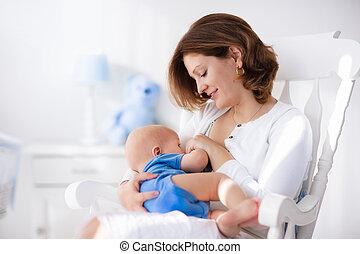 niño, joven, madre, bebé, hogar, feliz