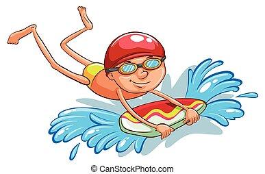 niño, joven, natación