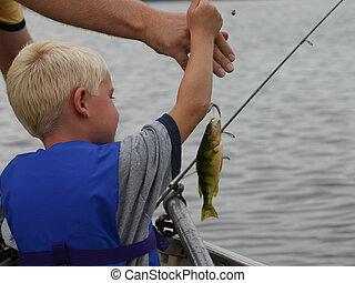 niño, joven, pesca