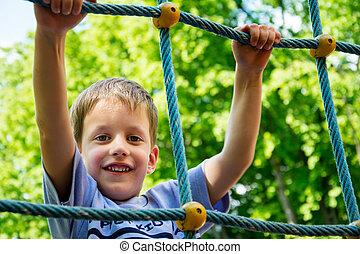 niño, joven, soga, patio de recreo, montañismo, niño