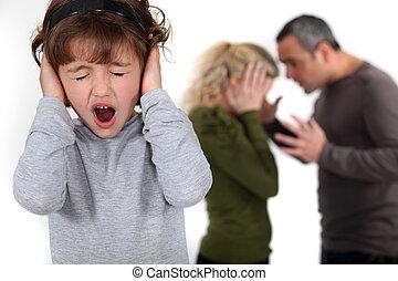 niño joven, tratar, para bloquear, afuera, ella, parents',...