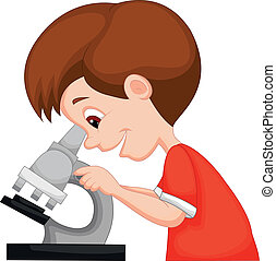 niño joven, utilizar, caricatura, microscopio