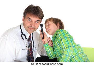 niño, juego, doctor