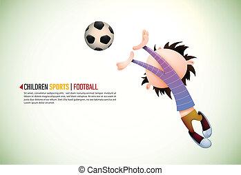 niño, jugador del fútbol, portero, defectos, hacia, el,...