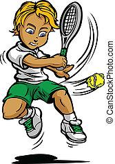 niño, jugador del tenis, niño, balanceo, raqueta, en, pelota