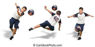 niño, jugar al fútbol, aislado