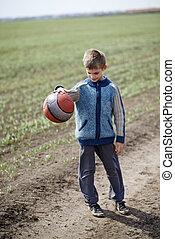 niño, jugar pelota