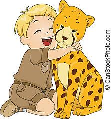 niño, juguete, abrazar, disecado, guepardo