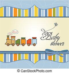 niño, juguete, ducha, tren, bebé, tarjeta