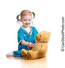 niño, juguete, juego, doctor