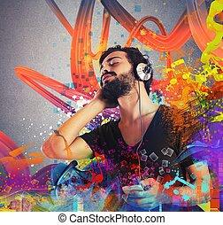niño, la música escuchar