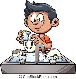 niño, lavar platos