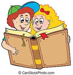 niño, libro de la escuela, lectura de la muchacha