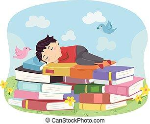 niño, libro, stickman, sueño, niño