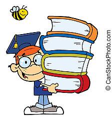 niño, libros, graduación