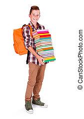 niño, libros, joven