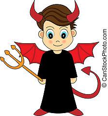 niño, lindo, diablo