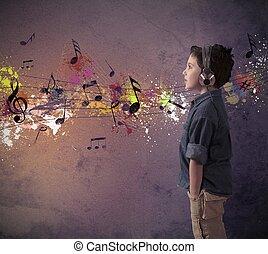niño, música, joven, escuchar