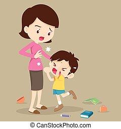 niño, madre, enojado, golpear