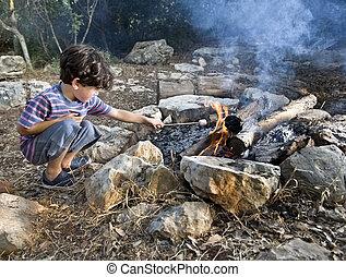 niño, malvavisco, campfire