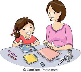 niño, mamá, libro, elaboración