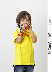niño, manzana, tenencia, feliz