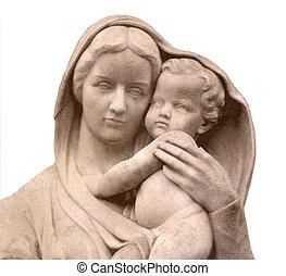 niño, maría virgen, estatua, jesús