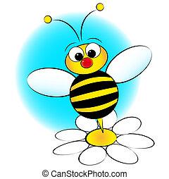 niño, margarita, -, ilustración, abeja