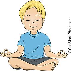 niño, meditar
