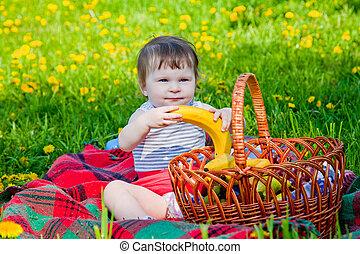 niño, merienda campestre que tiene, en, verano, parque