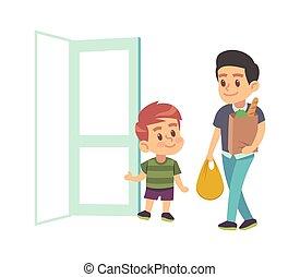 niño, modales, apertura, niño, cortés, adult., ilustración, ...