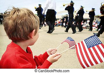 niño, monumento conmemorativo, desfile, mirar, joven, día