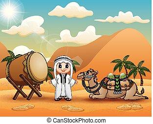niño, mubarak, camello, árabe, celebrar, eid